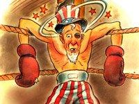 Ilustración del tío Sam noqueado. Mala Función del gobierno americano.