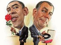 Obama con una rosa y Boehner con un disco
