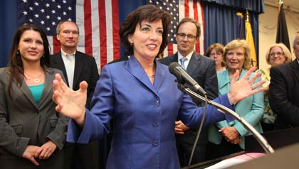Erie County Clerk Kathleen C. Hochul speaks at the UAW Hall in Williamsville, N.Y. Tuesday May 24, 2011 after winning the race in the 26th Congressional District.