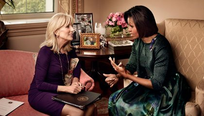 Michelle Obama and Jill Biden greet military families at White House tea