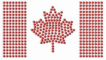 Bandera canadiense hecha de pastillas - 5 mitos sobre el sistema de salud de Canadá.