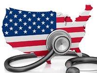 Bandera estadounidense con un estetoscopio - Opiniones divididas respeto a la futura decisión de la Corte Suprema