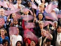 Grupo de personas con banderas de los Estados Unidos - Escoja a su presidente
