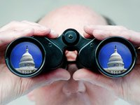 man with binocuars watching US Capitol - Government Watch