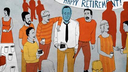 Drawing of sad men forced to retire. Robert Hale v. APUSA age discrimination lawsuit.