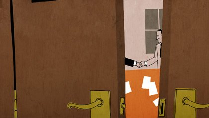Drawing of a confidential agreement occurring behind closed doors. Robert Hale v. APUSA age discrimination lawsuit.