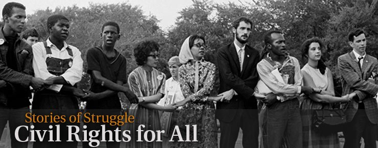 Whites and African-Americans with hands joined-Civil Rights Movement in America
