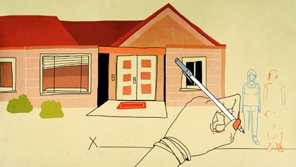 Drawing of a hand sketching a figure and erasing another figure with a house behind them. Was the title transfer of title to a property legal?