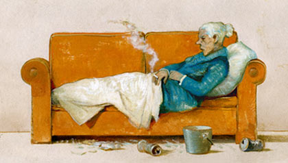 Drawing of an older woman laying on a couch. Elder neglect legal case.