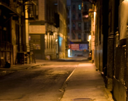 Dark and Mysterious Alley at Night