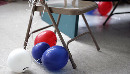 Balloons sit on the floor