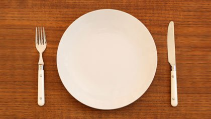 Empty plate with knife and fork on wooden table
