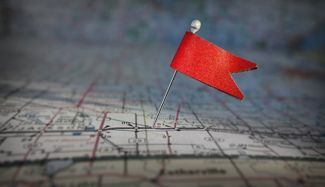 Pinned red flag on map