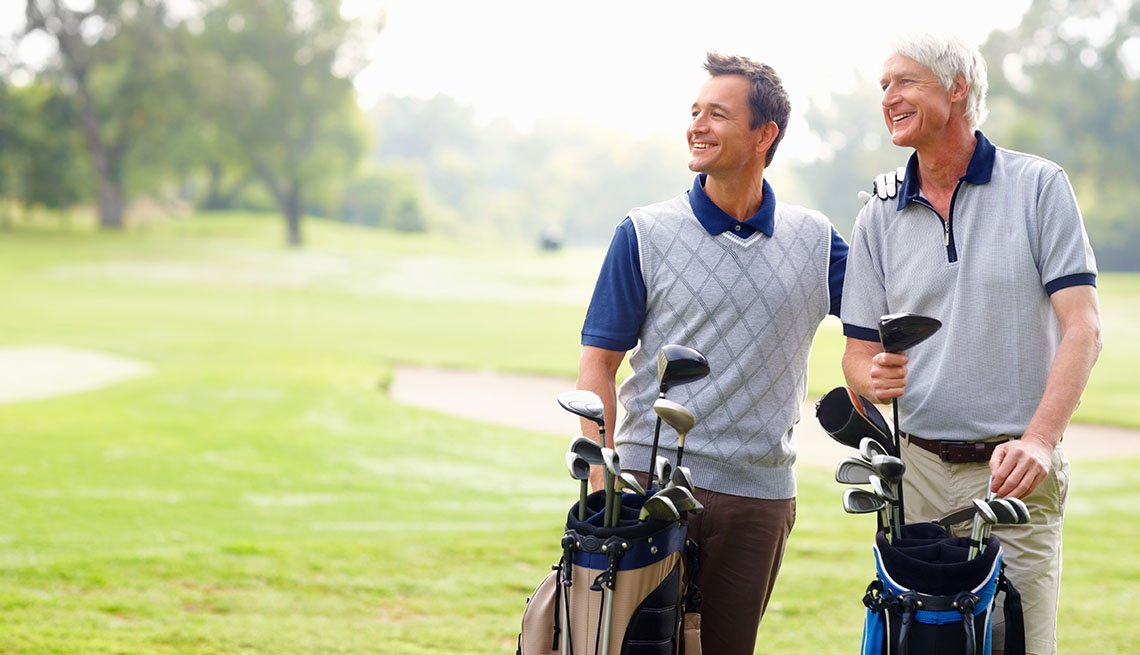 Two men on a golf course, Sports Enthusiasts