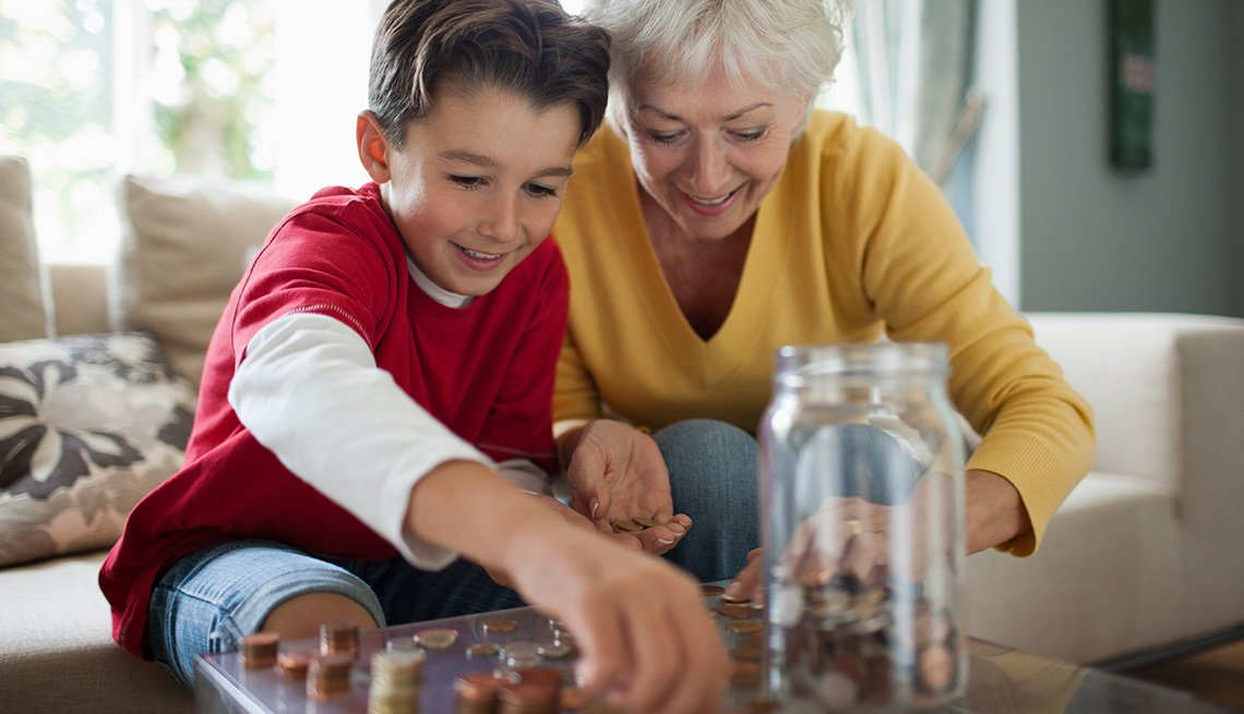 grandmother and grandson count coins