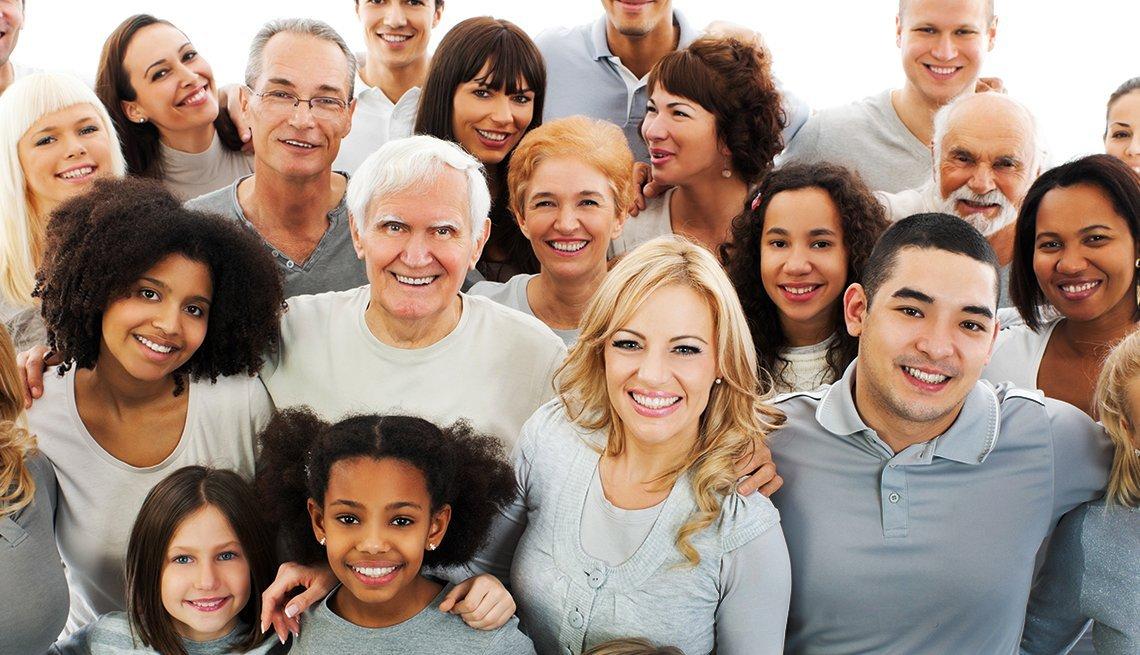 happy multi-generational group