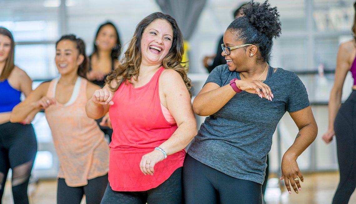 two women in dance class
