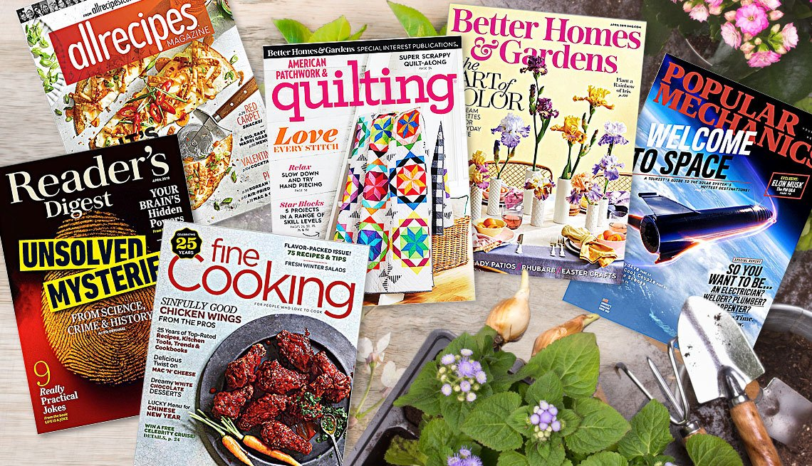 Quilting, cooking and gardening magazines