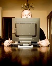 Paranoia, man with computer
