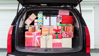presents in the back of a car