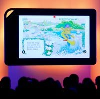 An oversized model of the Barnes & Noble Nook Color electronic reader is displayed during an unveiling event in New York