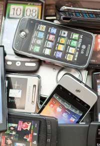 Pile of recycled mobile phones