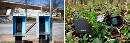 Old phone booth and new cell phone battery charger