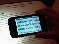 Eye Reader phone app on a menu to magnify words