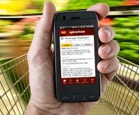 Using a smartphone app while grocery shopping.