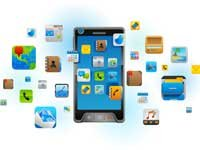 Smartphone surrounded by app icons, showing many of the items used in a day in the life of a smartphone.