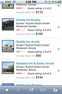 Hotel listings and ratings shown in Eureka, California via Safari's mobile browser for iPhone