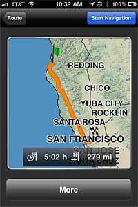 La aplicación Navigon para iPhone ofrece instrucciones de navegación por GPS en tiempo real.