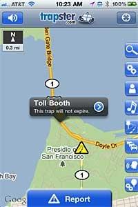 La aplicación Trapster utiliza la cooperación colectiva para compartir la ubicación de los radares de velocidad.