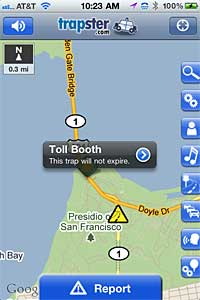 iPhone screenshot of Trapster, an app that shows upcoming road stops and speed traps
