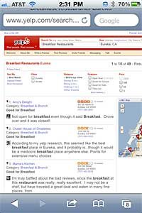 Yelp! restaurant listing and review shown on Safari's mobile browser for iPhone.