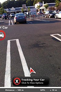 Augmented reality view of car tracking application from FOFA