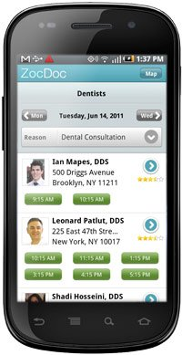 Zoc Doc screenshot - Dentists