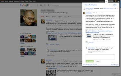 La pantalla de  de notificación de Google + es mejor en comparación con Facebook, ya que permite la lectura y los comentarios sobre los mensajes sin tener que salir del área de notificación.