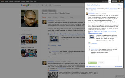 Google+'s notification screen is much better compared to Facebook's because it allows reading/commenting on messages without leaving the notification area.