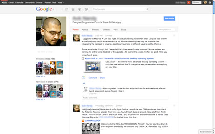 View of a Google+ profile page. Posts can be edited, commented on, +1'ed (similar to