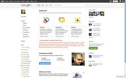 Pantalla de inicio de Google+. Mediante el uso de características como la organización de amigos en los círculos, Google + permite la ordenación lógica de los contactos y el compromiso fácil a través de varios grupos.