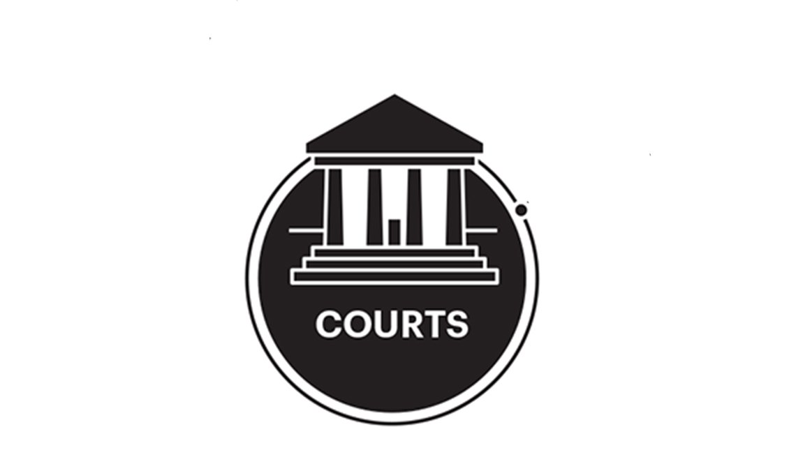 Illustration of a courthouse in black and white with the text courts underneath.