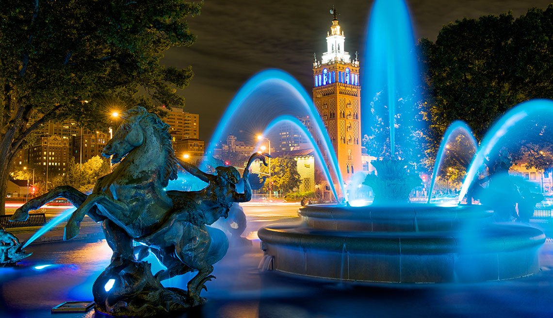 Kansas City Downtown And Fountain At Night, Top USA Destination Cities