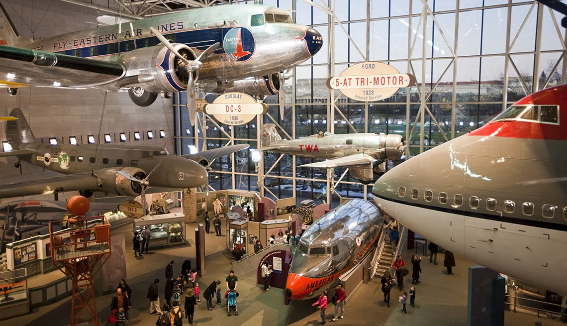 Aerial View Of The Planes Hanging From The Ceiling Of The Air And Space Museum On The National Mall And Part Of The Smithsonian Museums In Washington, DC, Free USA Destinations