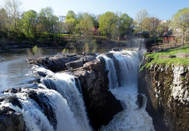 High Angle View of the Great Falls of Passaic River, Paterson, New Jersey.