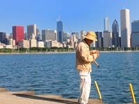 Hombre pescando en el lago Michigan en Chicago - Aventuras urbanas.