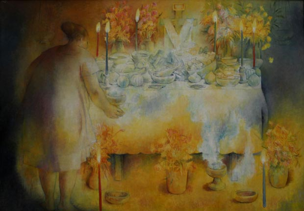 "Fernando Castro Pacheco, The Offering-Hanal Pixan / La Ofrenda-Hanal Pixan, 1975, oil on canvas, 50 1/8"" x 70 1/2"", Museo de Arte Contemporáneo Ateneo de Yucatán - Day of the Dead Slideshow"
