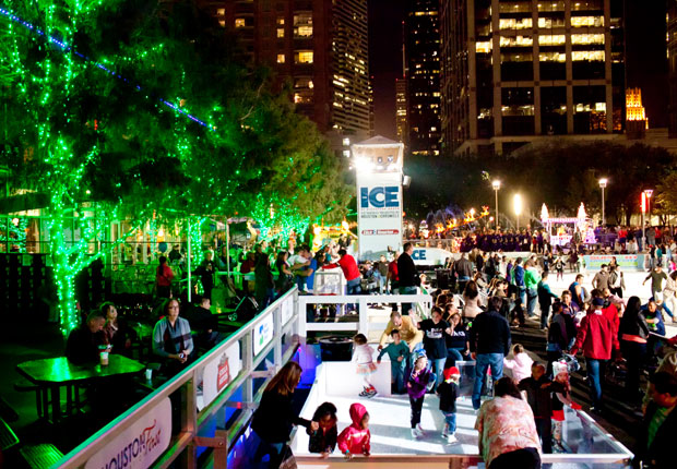 Skaters enjoy the ice rink at the Houston Discovery Green
