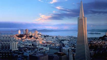 La Pirámide TransAmerica se ve en San Francisco, California - Rascacielos más reconocidos en los Estados Unidos