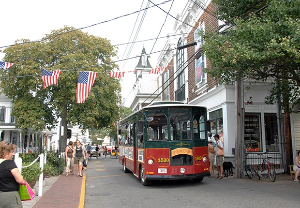 Provincetown, street scene with old-fashioned bus.